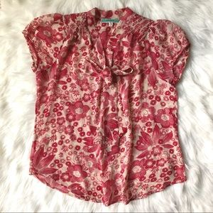 Women Floral Red Top By Pleione Size Small